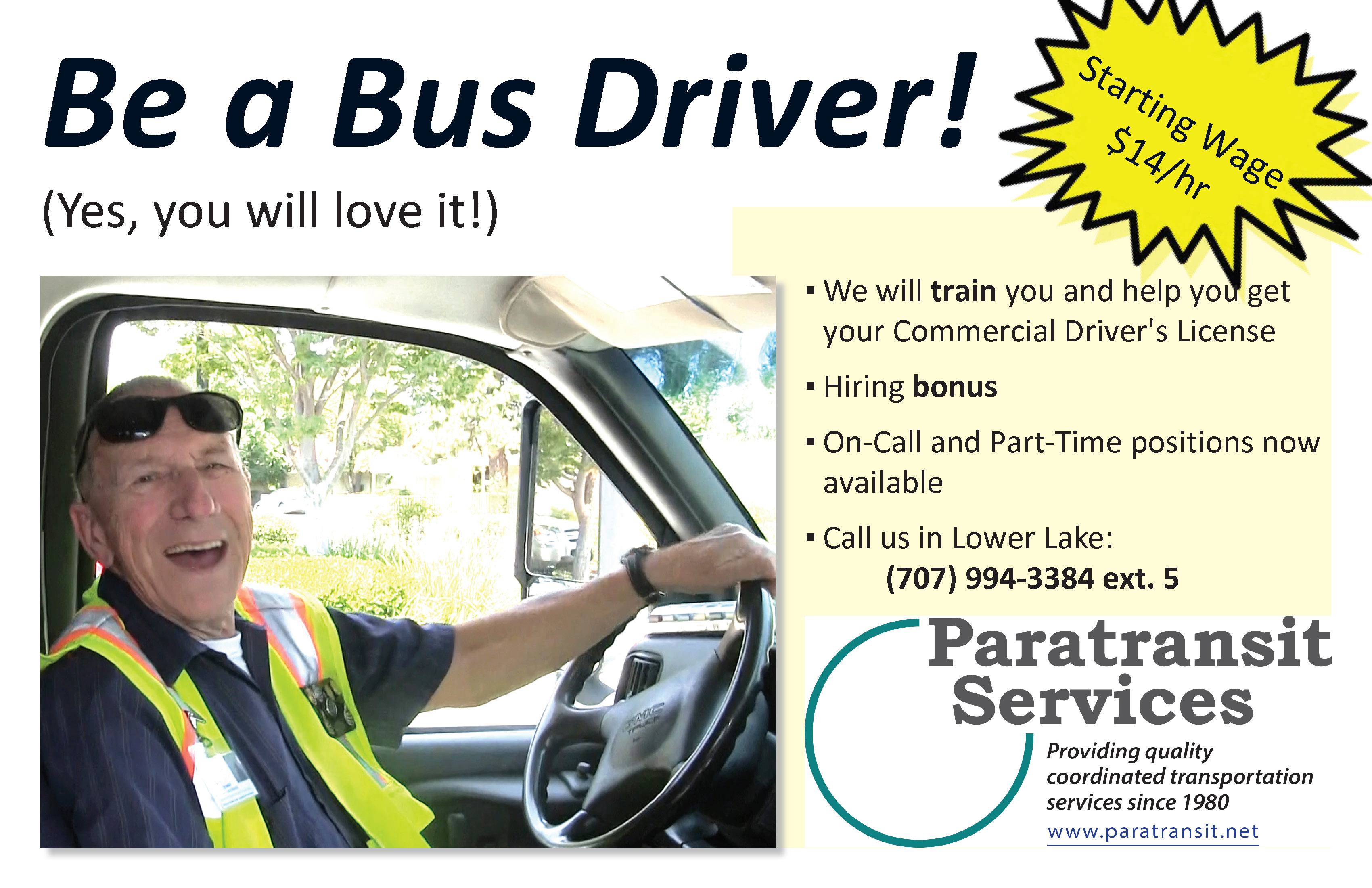 Ad for current open driver positions for LTA