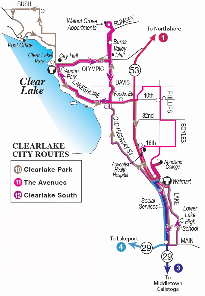 System Map: Clearlake and Lower Lake Routes
